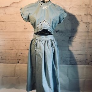 Vintage Nan Scott 50s Top & Skirt Set embroidery S